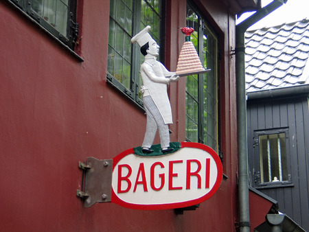Sign of a traditional Danish bakery in Denmark
