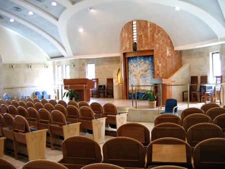 Interiors of a new modern design Synagogue