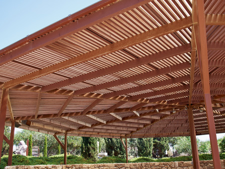 Photo for Classical design big pergola arbor made wood - Royalty Free Image