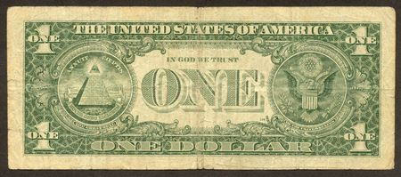The scanned image of one American dollars. Made in 1996.