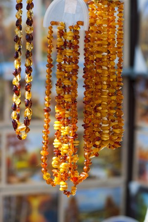 High resolution image. Delightful amber beads for women. Jeweller.