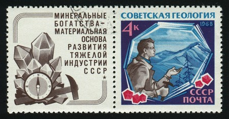 RUSSIA - CIRCA 1968: stamp printed by Russia, shows Prospecting Geologist and Crystals, circa 1968.