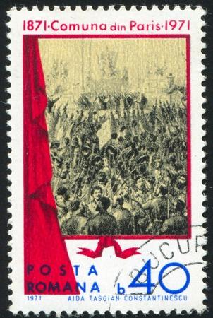 ROMANIA - CIRCA 1971: stamp printed by Romania, shows Paris commune, circa 1971