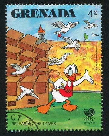 GRENADA - CIRCA 1988: stamp printed by Grenada, shows Donald Duck, circa 1988