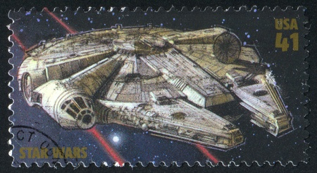 UNITED STATES - CIRCA 2007: stamp printed by United states, shows Star Wars, Millennium Falcon, circa 2007