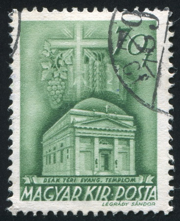 HUNGARY - CIRCA 1973: stamp printed by Hungary, shows Deak Square Evangelical church, Budapest, circa 1973