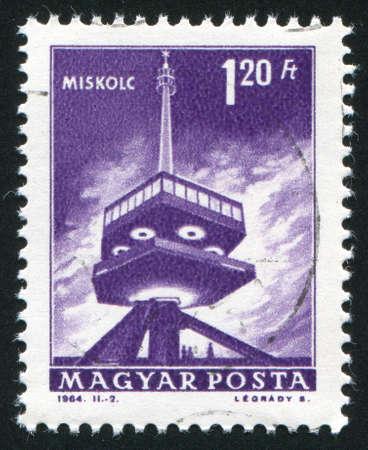 HUNGARY – CIRCA 1964: stamp printed by Hungary, shows Television transmitter, Miskolc, circa 1964
