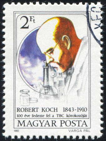 HUNGARY & CIRCA 1982: stamp printed by Hungary, shows Robert Koch, circa 1982