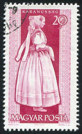 HUNGARY CIRCA 1963: stamp printed by Hungary, shows provincial costumes of Karancssag,  circa 1963