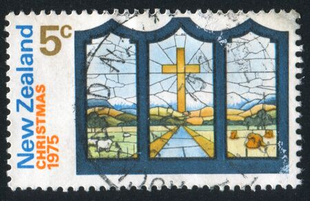 NEW ZEALAND - CIRCA 1975: stamp printed by New Zealand, shows Stained Glass Window, circa 1975