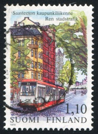 FINLAND - CIRCA 1979: stamp printed by Finland, shows Tram in Helsinki, circa 1979