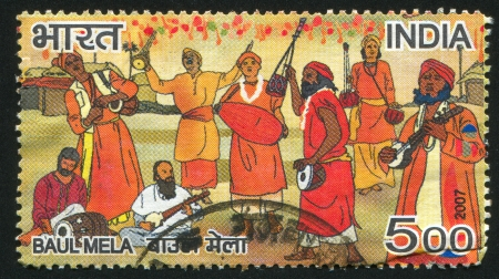 INDIA - CIRCA 2007: stamp printed by India, shows group Baul Mela, circa 2007