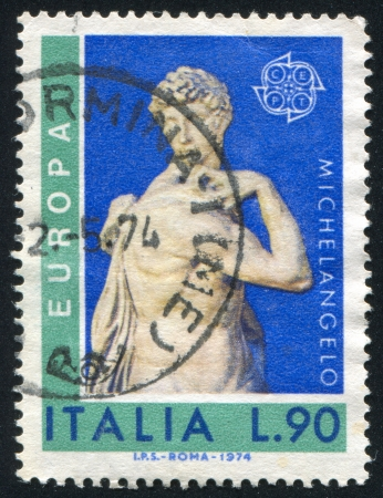 ITALY - CIRCA 1974: stamp printed by Italy, shows David by Mchelangelo, circa 1974