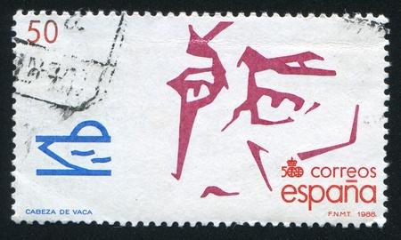 SPAIN - CIRCA 1988: stamp printed by Spain, shows Cabeza de Vaca, circa 1988
