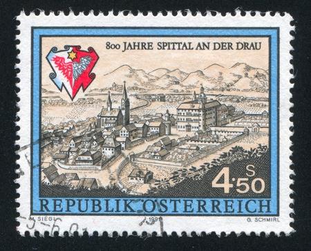 AUSTRIA - CIRCA 1991: stamp printed by Austria, shows Spittal an der Drau, town, circa 1991