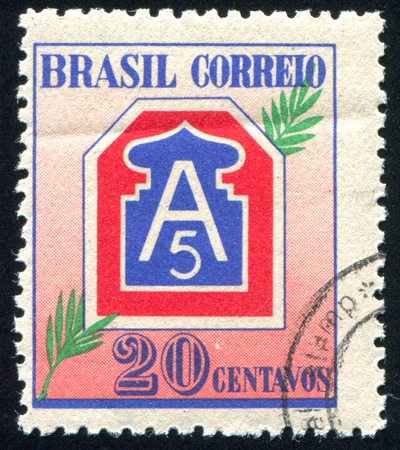 BRAZIL - CIRCA 1945: stamp printed by Brazil, shows  Emblems of 5th Army and B.E.F., circa 1945