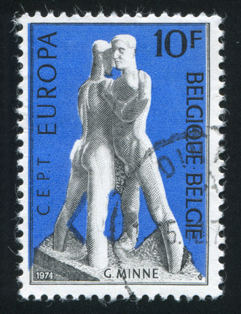 RUSSIA KALININGRAD, 20 OCTOBER 2015: stamp printed by Belgium, shows Solidarity by Georges Minne, circa 1974