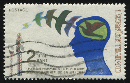 RUSSIA KALININGRAD, 2 JUNE 2016: stamp printed by Thailand, shows national communications day, circa 1986