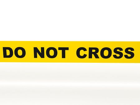 Photo for Do not cross. Yellow tape isolated on white background. High quality 3d render. - Royalty Free Image