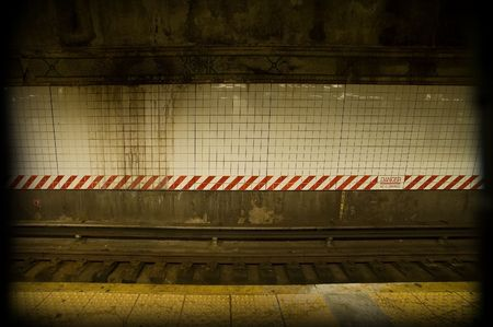 old dirty subway rail background, photo taken in new york