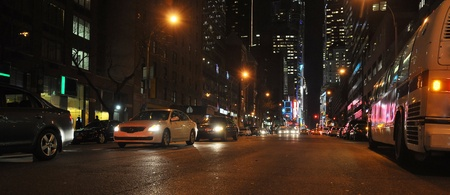 night urban panorama with light traffic, photo taken in New York