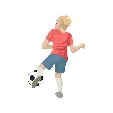 Illustration pour Football player kicks the ball. View from the back. Vector illustration of character. - image libre de droit
