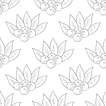 Illustration pour Acai berry branch, leaves superfood hand drawn sketch illustration. Seamless pattern. - image libre de droit
