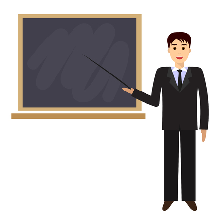 Teacher with pointer, showing on board. Young male teacher, professor standing in front of blackboard teaching student in classroom at school, college or university.
