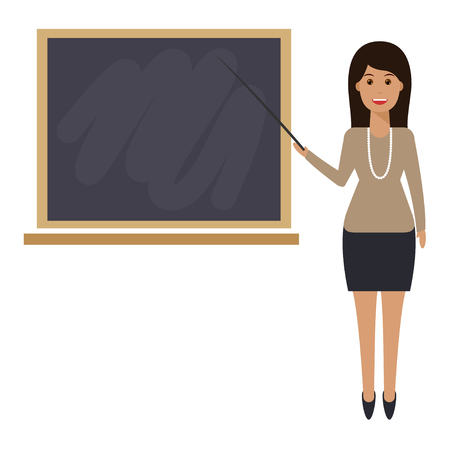 Teacher with pointer, showing on board. Young female teacher, professor standing in front of blackboard teaching student in classroom at school, college or university.