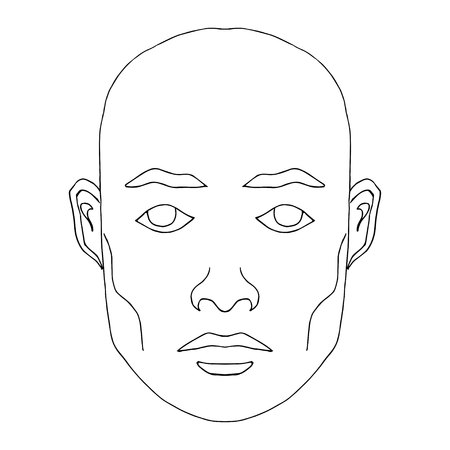 Man face hand-drawn fashion model. Clip art of young man with blank expression looking at camera. Easy editable illustration. Isolated on white background.