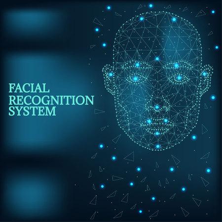 Illustration pour Biometric identification, man face blue - image libre de droit