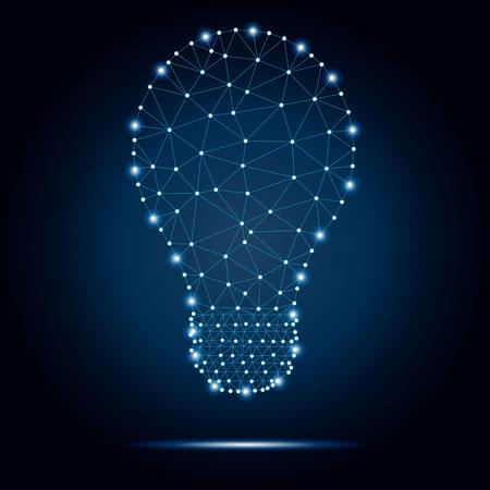 Photo pour Lightbulb polygon, dots, blue, stars 2-2 - image libre de droit