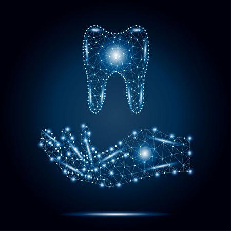 Illustration pour Polygon tooth, human hand, blue, stars 2-3. - image libre de droit