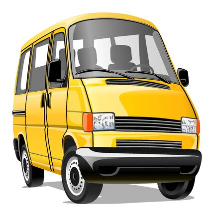 Illustration for Cartoon minibus isolated on a white background. Vector illustration - Royalty Free Image