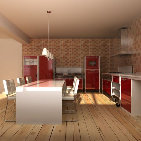 3d rendering interior of a modern dining roomの写真素材