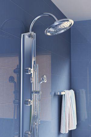 head shower in a modern bathroom.3d render