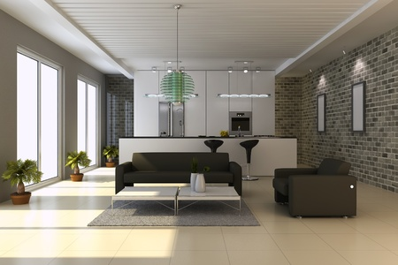 3d render interior of modern house