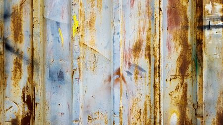 Photo pour Rusty galvanized sheet. Corrugated metal wall texture, zinc old metal wall background, vintage style, abstract. - image libre de droit