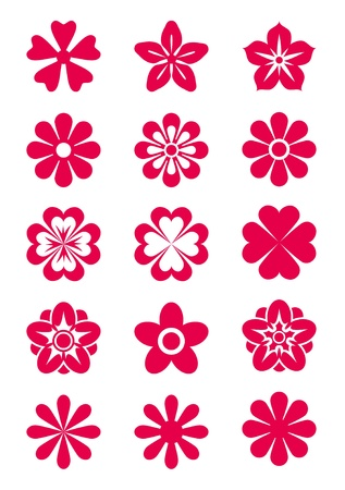 Set of 15 vector flowers' silhouettes