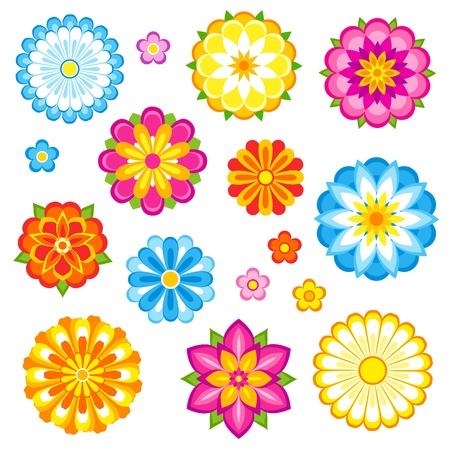 Illustration pour Decorative flowers set.  - image libre de droit