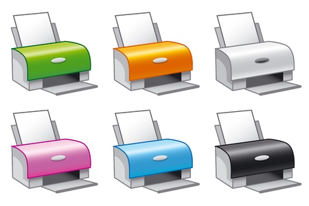 Set of vector icons of printers in multiple colors