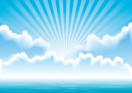 Illustration for Calm sea with clouds and sun rays above it.  - Royalty Free Image