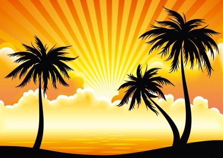 Illustration for Sunset coast with palm-trees.  - Royalty Free Image