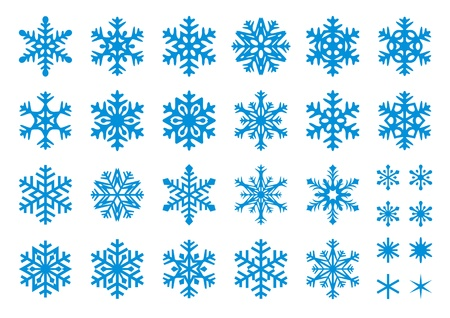 Set of 30 snowflakes, some with crisp edges and some with rounded angles.