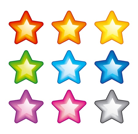 Vector star icons of rainbow colors