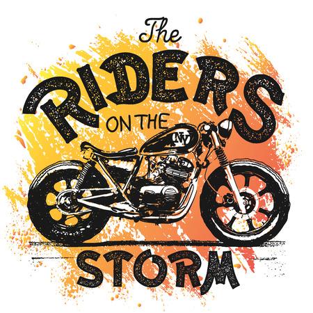 Illustration pour Vintage Motorcycle hand drawn t-shirt print. - image libre de droit