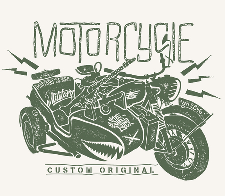Illustration pour Military Motorcycle whith sidecar hand drawn t-shirt print. - image libre de droit