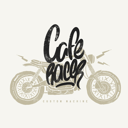 Illustration pour Cafe racer Vintage Motorcycle hand drawn t-shirt print - image libre de droit