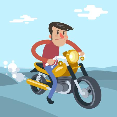 Illustration pour Man ride on motorcycle, cartoon vector flat illustration - image libre de droit