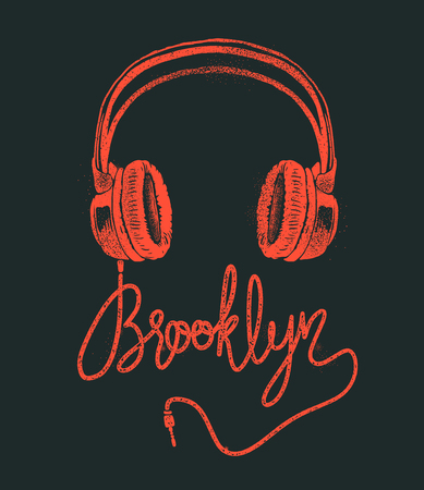 Illustration for Headphone Brooklyn hand drawing, grunge vector illustration. - Royalty Free Image